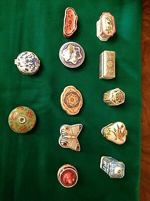 del prado pill boxes. x12. hand finished fine porcelain collector pieces -010