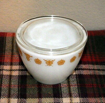 Vintage Pyrex Gold Butterfly Sugar Dish Bowl with Lid