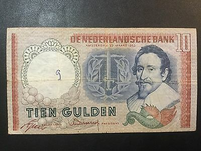 1953 Netherlands Paper Money - 10 Gulden Banknote!