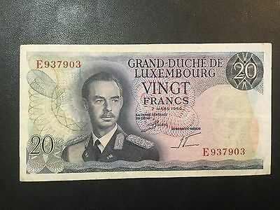 1966 Luxembourg Paper Money - 20 Francs Banknote!