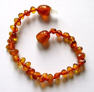 Genuine child children amber bracelet anklet, baby to adult sizes, cognac beads