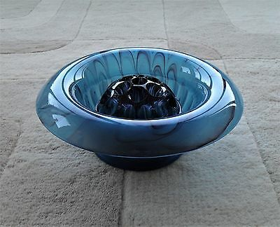Victorian Davidson Blue Cloud Glass Rose Bowl in Perfect Condition 1910 range