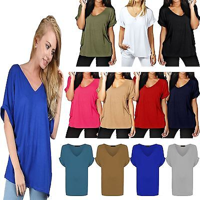 New Ladies Women BAGGY Loose Short Turn UP Sleeves V NECK T Shirt Plus Size 8-26