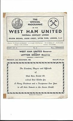 West Ham United Reserves v Leyton Orient Reserves  Dec 1955 Football Combination