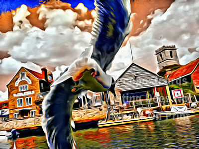 A2 Poster Seagull Historic Market Town Wareham Quay # tracl 052