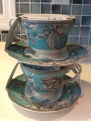 222Fifth Adelaide Turquoise New 2 Teacups With Saucers