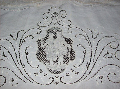 Italian Linen Lace Open Cutwork Figural Antique Tablecloth 1800s Edwardian