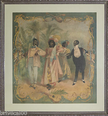 Black Americana large silk tapestry Black couples strolling and singing 1880's