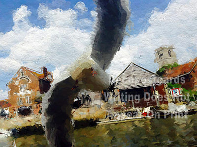 A2 Poster Seagull Historic Market Town Wareham Quay # tracl 005