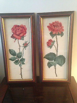 Petite Point Needlepoint Rose Wall Art In Wooden Frames 1980's