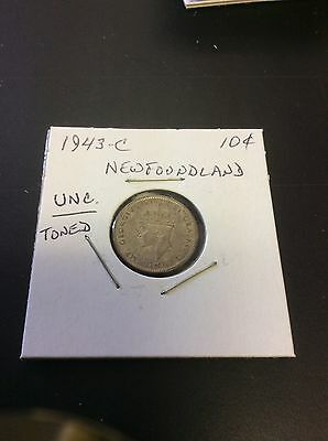 1943-C Toned Unc. Newfoundland Canada Silver 10 Cents