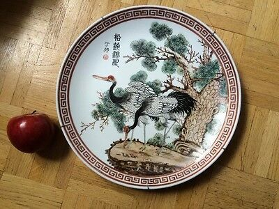 Large Antique Chinese  Marked Porcelain Handpainted Plate w/ Bird  Scene