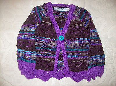 """Hand Knitted Baby Girls Cardigan in a Purple Mix colour 1 year 24"""" chest"""