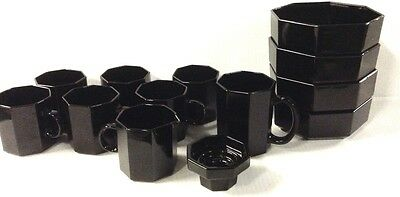 20 pc Lot of Arcoroc France OCTIME Octagonal Black Glass