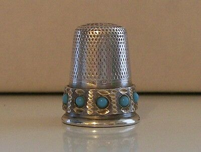 Very Nice 925 Silver Thimble with 10 Blue Stones