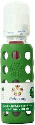 NWT LifeFactory Glass Baby Bottle 9oz Silicone Sleeve Green New Sealed