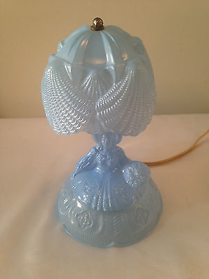 Vintage Blue Milk Glass Fairy Lamp