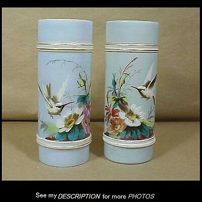 Antique Pr Victorian Hand Painted Vases with Hummingbirds and Floral Decoration
