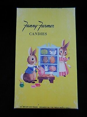 Vintage Fanny Farmer Candies Box One Pound Easter Bright Graphics Bunny Rabbit