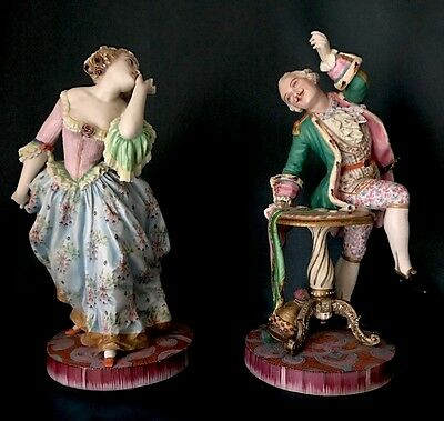 Antique French Jean Gille Pair Of Bisque Figurines