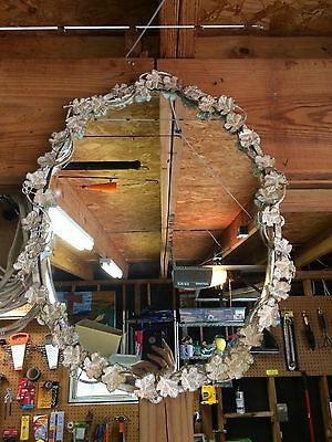 Vintage Cast Iron Art Wall Mirror Grapevine shaped Leaves Ornate 24 x 18