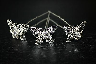 New Butterfly Hair Pin Set of 3 Silver Hair Tone Rhinestones