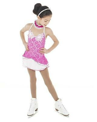 NEW COMPETITION SKATING DRESS Elite Xpression Fuschia Lace 1463 12-14 CXL