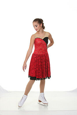 NEW ICE DANCE FIGURE SKATING DRESS Red Black Spanish Theme AS Adult Small