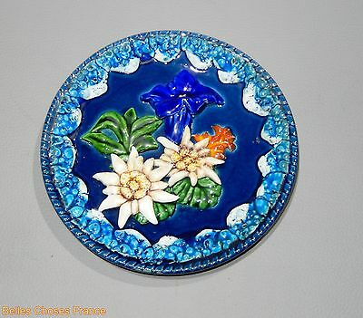 Collectible  vintage french ceramic plate flowers decor relief wall hanging blue