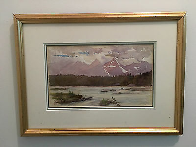 """Signed Watercolour 'canadian Mountains"""" Painting Atkinson 1948"""