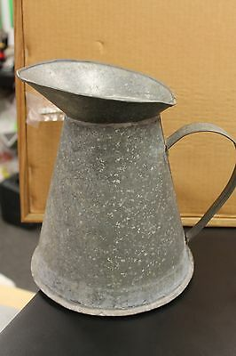 """Vintage  9.5 """" Tall Aluminum Watering Can  Handled speckled gray metal"""