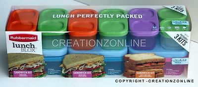 3 Rubbermaid Lunch Blox Kids Lunch Sandwich Kit Box Container Blue Ice Brand New