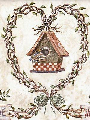 * Unique Country Birdhouse & Wooden Branches - ONLY $6 - Wallpaper Border B016