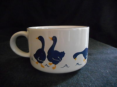 White and blue ceramic soup mug with ducks/geese made in Japan