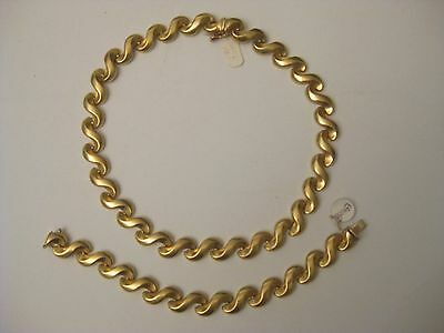 14K Yellow Gold S-Link Necklace Bracelet Set Made in Italy