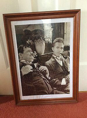 Framed Laurel & Hardy Completed Jigsaw In Wooden Frame Black & White Collectible