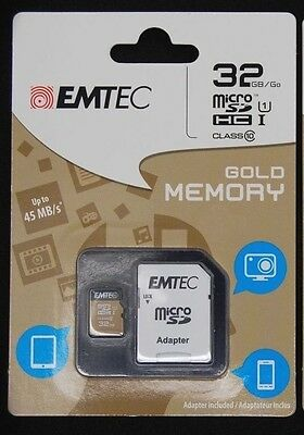NEW EMTEC 32 GB Class 10 MicroSDHC Memory Card with Adapter For Samsung,Android