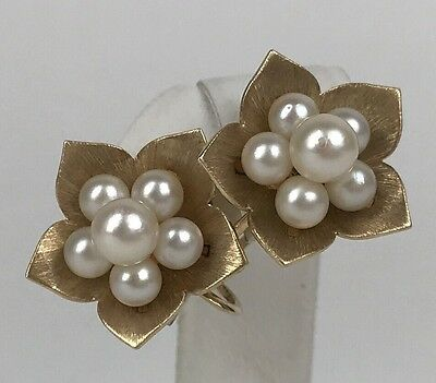 Vintage Mikimoto SIGNED 14K Yellow Gold Pearl Floral Cluster Clip On Earrings