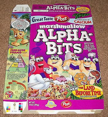 Vintage 2000 Post Alpha-Bits Land Before Time Marshmallow Cereal Box Flat