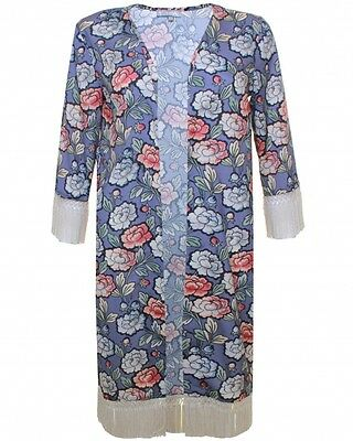 Topshop by Love Grey Floral Print Long Fringe Jacket Kimono UK 14 EURO 42 US 10