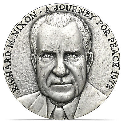 1972 Richard M. Nixon A Journey For Peace 5.39 Troy oz .999 Silver Medallic Art