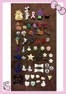 Lot of 55 Realistic Plastic Buttons ~ Many Types & Designs