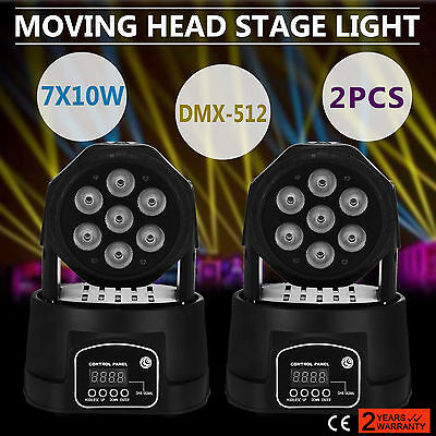 2X 70W DMX LED Laser Moving Head Stage Light DJ Lighting Wash Color Change Band
