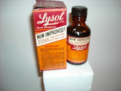 Vintage Lysol Bottle New Improved With Box Circa 1950's Unopened