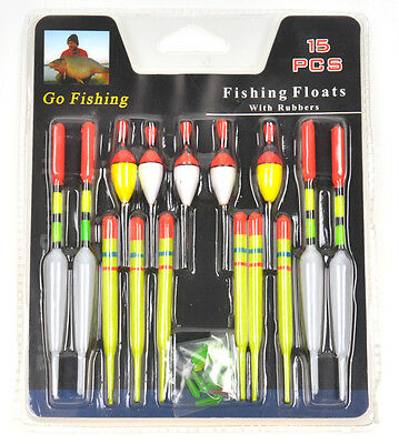 Lot assorted Sizes Fishing Lure Floats Bobbers Slip Drift Tube Indicator 15pcs