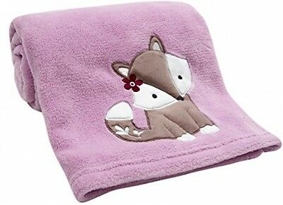 Baby Toddler Blanket Lavender Purple w Cute Cartoon Raccoon Soft 100% Polyester