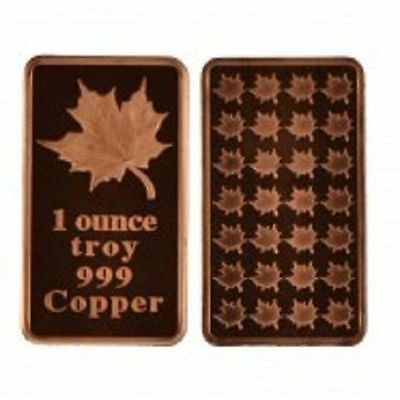 1 Troy oz Maple Leaf copper ingot. Uncirculated bar .999