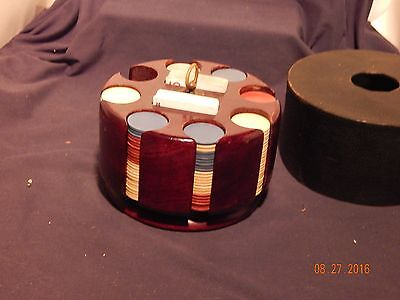 Antique Wholesale Lot(140+) Unmarked Clay Poker Chips With Wooden Swivel Caddy