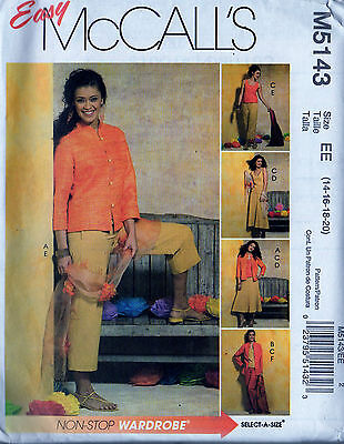 McCall's Sewing Pattern 5143 Size EE (14-16-18-20) Jacket, Top, Skirt & Pants UC