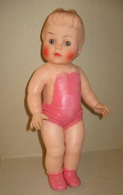 """VINTAGE 13"""" SUN RUBBER DOLL, 1956 Girl with MOLDED PONYTAIL, Pink Sunsuit, EUC"""